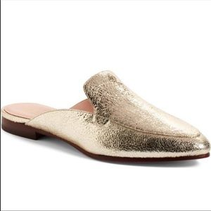 Kate Spade Gold Cece Cracked Leather Mules